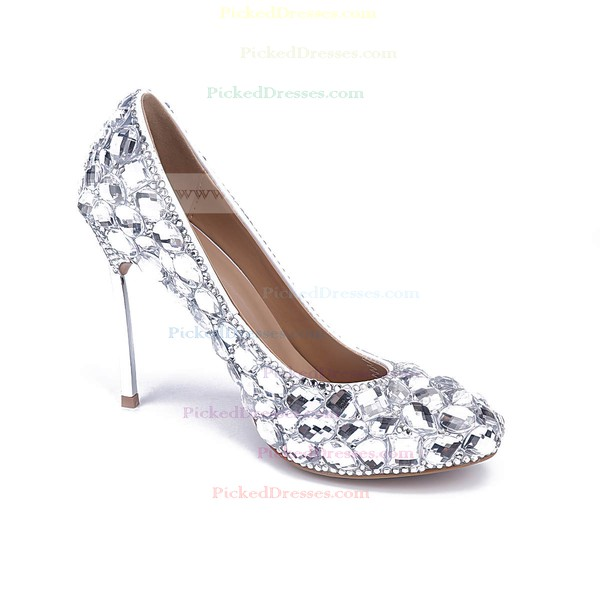 Women's Silver Patent Leather Stiletto Heel Pumps