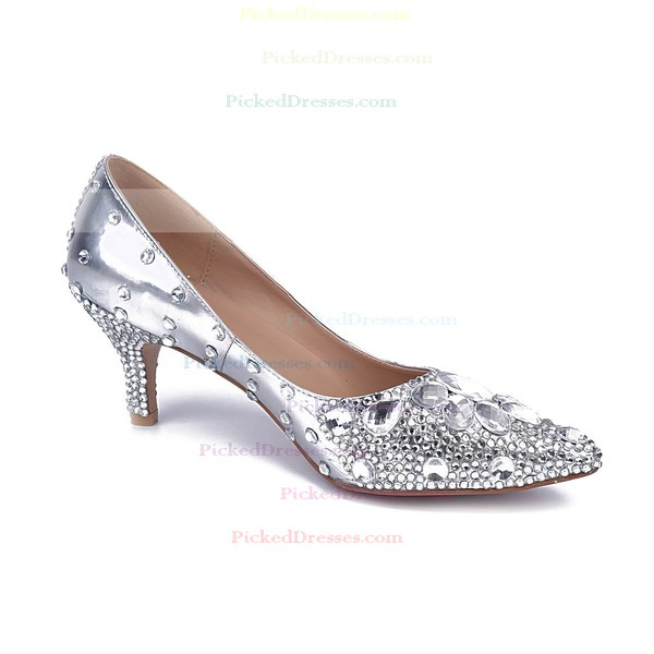 Women's Silver Real Leather Kitten Heel Pumps