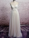 Affordable V-neck Ivory Tulle Appliques Lace Empire Wedding Dresses #PDS00020573