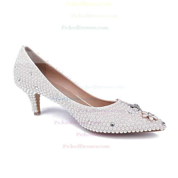 Women's White Patent Leather Kitten Heel Pumps