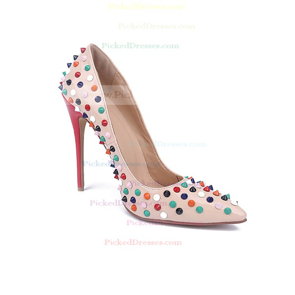 Women's Pale Pink Patent Leather Stiletto Heel Pumps