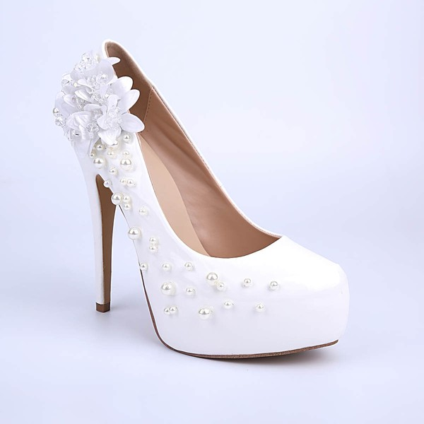 Women's White Patent Leather Stiletto Heel Pumps