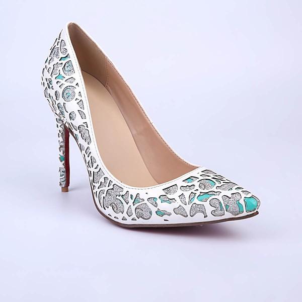 Women's White Patent Leather Stiletto Heel Pumps