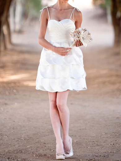 Sweetheart Tiered White Satin Lace-up Cute Short/Mini Wedding Dress #PDS00020575