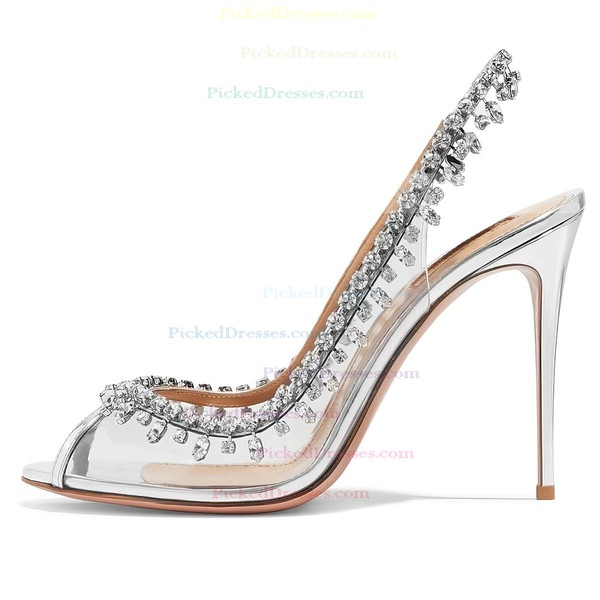Women's Pumps Stiletto Heel Silver PVC Wedding Shoes