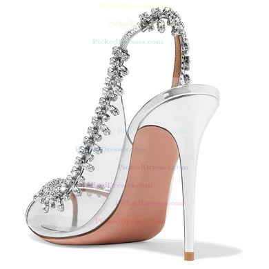 Women's Pumps Stiletto Heel Silver PVC Wedding Shoes #PDS03030865