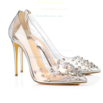 Women's Pumps Stiletto Heel Gold Leatherette Wedding Shoes #PDS03030867
