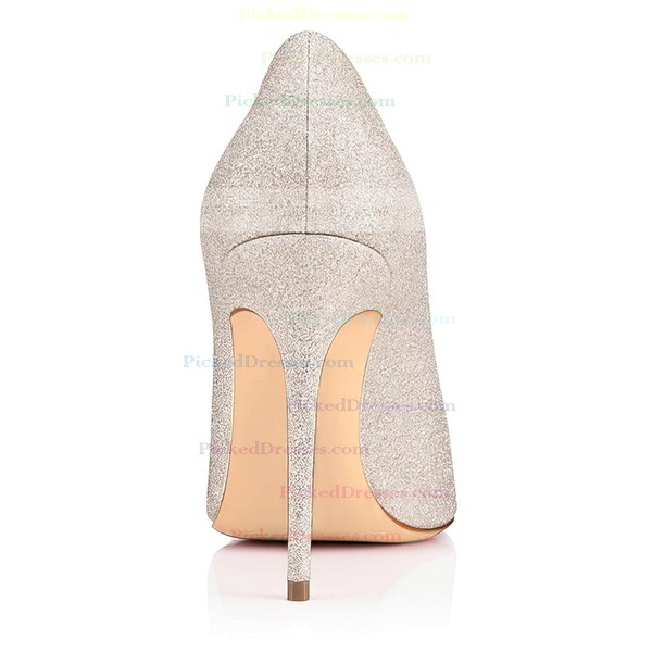Women's Pumps Stiletto Heel Silver Sparkling Glitter Wedding Shoes