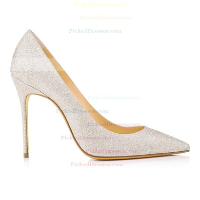 Women's Pumps Stiletto Heel Silver Sparkling Glitter Wedding Shoes #PDS03030872