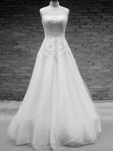 Scoop Neck White Tulle with Appliques Lace A-line Elegant Wedding Dress #PDS00020576