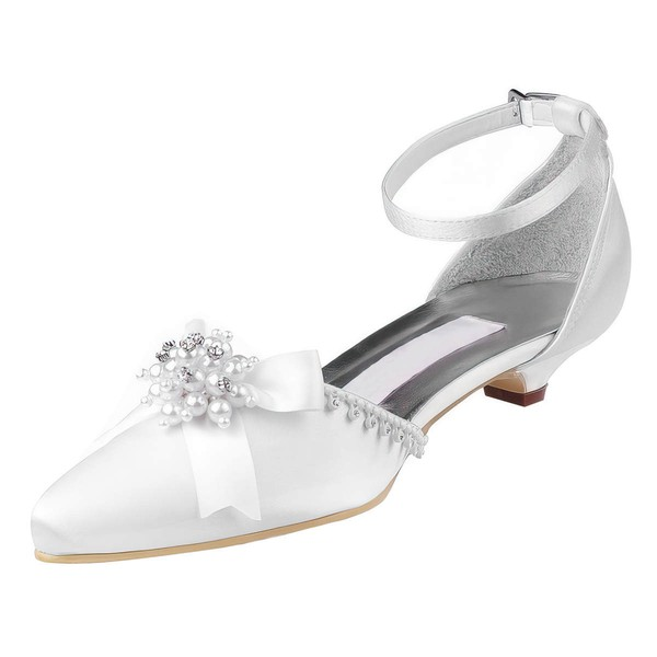 Women's Pumps Kitten Heel White Satin Wedding Shoes #PDS03030919