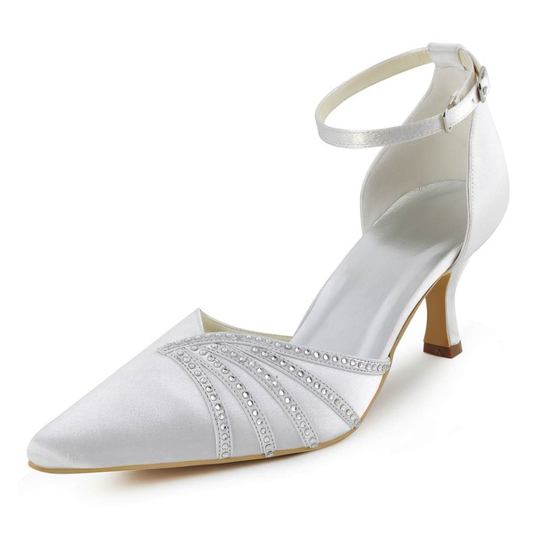 Women's Pumps Cone Heel White Satin Wedding Shoes #PDS03030920