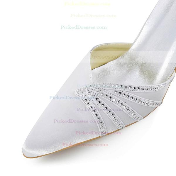 Women's Pumps Cone Heel White Satin Wedding Shoes