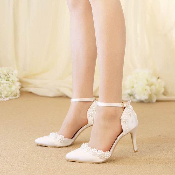 Women's Pumps Stiletto Heel White Satin Wedding Shoes #PDS03030921