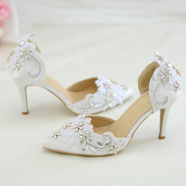 Women's Pumps Cone Heel White Satin Wedding Shoes #PDS03030924