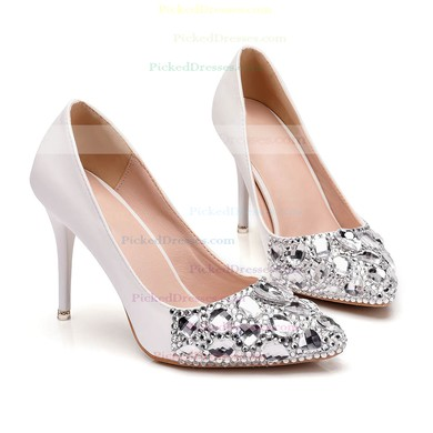 Women's Pumps Stiletto Heel Ivory Leatherette Wedding Shoes #PDS03030928