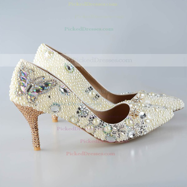Women's Pumps Cone Heel Champagne Leatherette Wedding Shoes