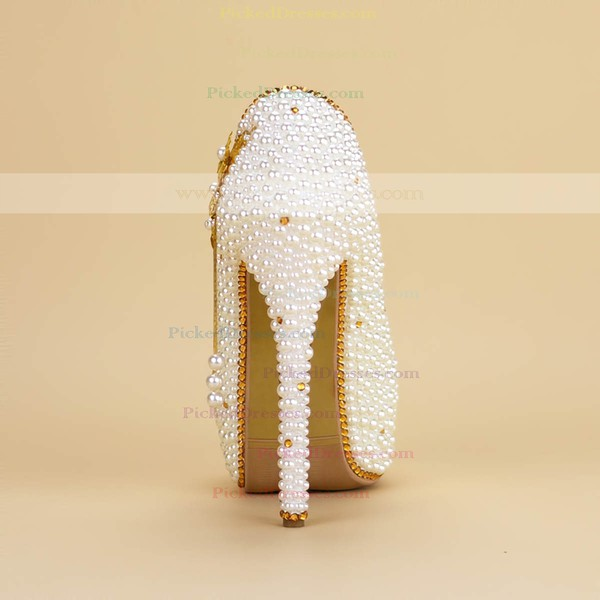 Women's Pumps  Stiletto Heel White Leatherette Wedding Shoes