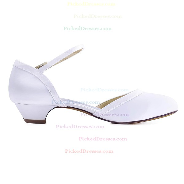 Women's Pumps Low Heel White Satin Wedding Shoes