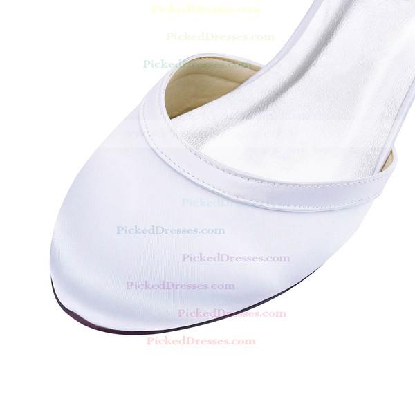 Women's Pumps Low Heel White Satin Wedding Shoes