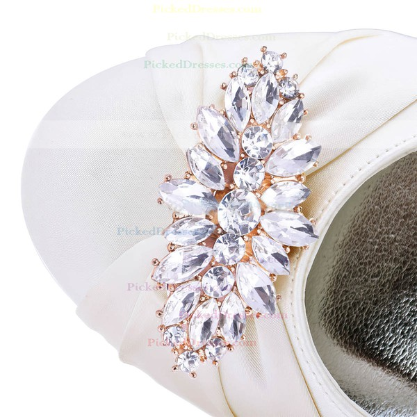 Women's Closed Toe Wedge Heel White Satin Wedding Shoes