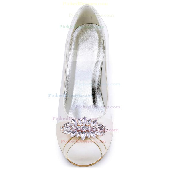 Women's Closed Toe Wedge Heel White Satin Wedding Shoes
