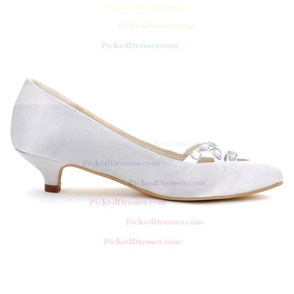 Women's Pumps Kitten Heel White Satin Wedding Shoes