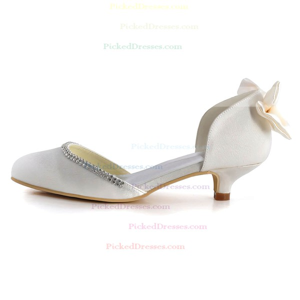 Women's Pumps Kitten Heel White Satin Wedding Shoes