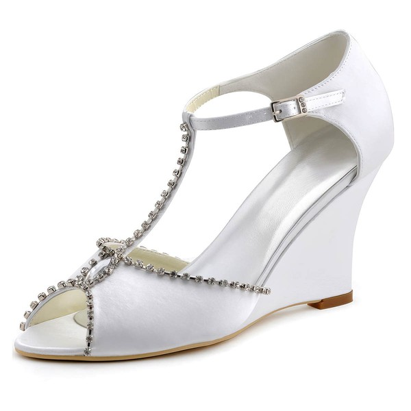Women's Peep Toe Wedge Heel White Satin Wedding Shoes