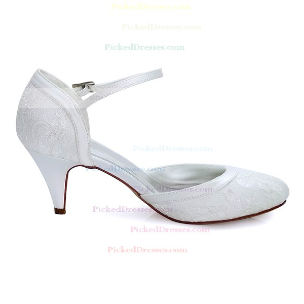 Women's Pumps Cone Heel White Satin Wedding Shoes