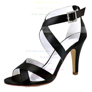 Women's Pumps Cone Heel White Satin Wedding Shoes #PDS03030890
