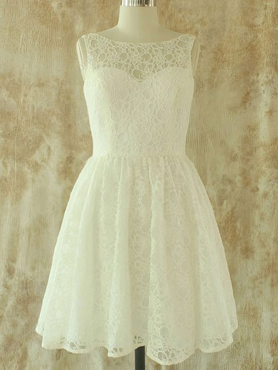 Perfect Knee-length Scoop Neck Sashes/Ribbons Ivory Lace Wedding Dresses #PDS00020580