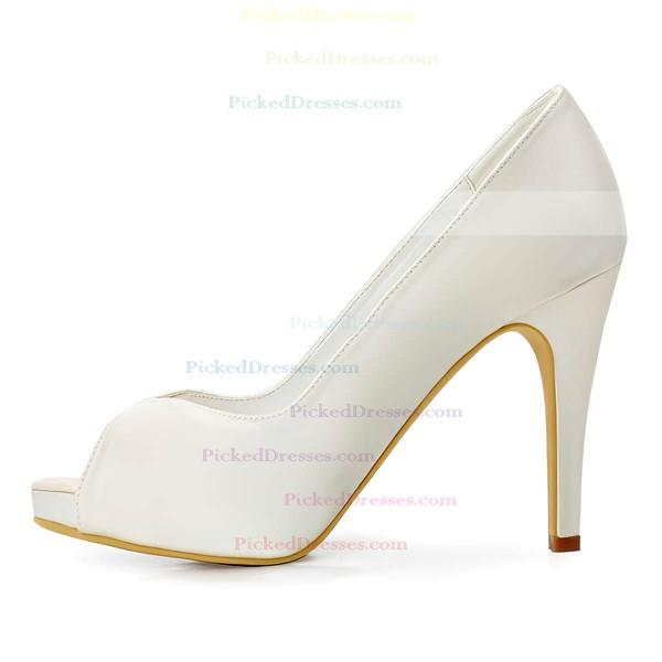 Women's Pumps Stiletto Heel White Satin Wedding Shoes