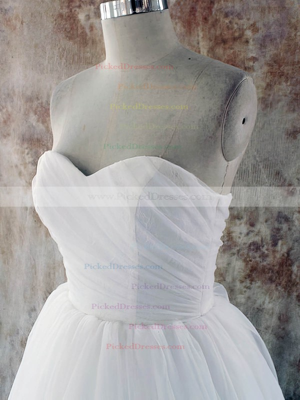 Sweetheart Court Train White Tulle with Lace-up Simple Wedding Dress #PDS00020581