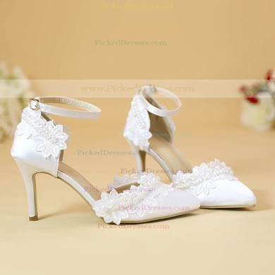 Women's Pumps Cone Heel White Leatherette Wedding Shoes #PDS03030905