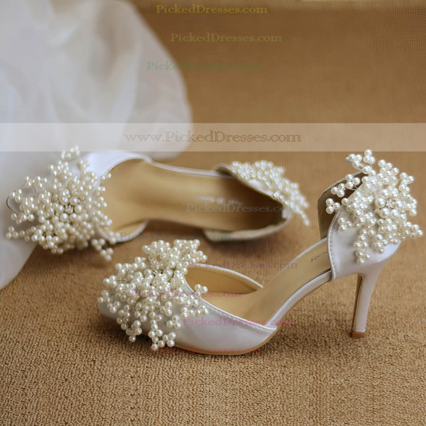 Women's Pumps Cone Heel White Leatherette Wedding Shoes