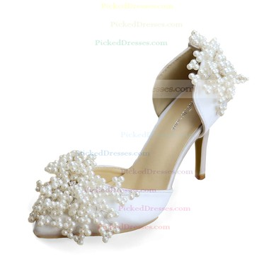 Women's Pumps Cone Heel White Leatherette Wedding Shoes #PDS03030906