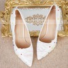 Women's Pumps Stiletto Heel White Leatherette Wedding Shoes #PDS03030912