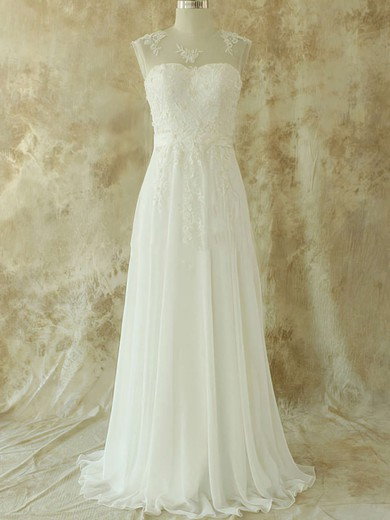 Sweep Train Scoop Neck Ivory Chiffon with Appliques Lace Prettiest Wedding Dresses #PDS00020582