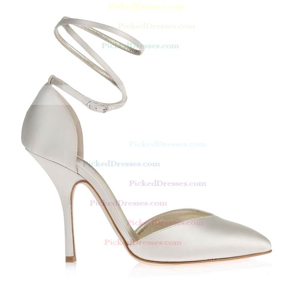 Women's White Satin Pumps with Buckle