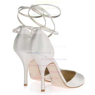 Women's White Satin Pumps with Buckle #PDS03030349