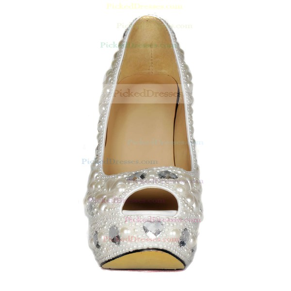 Women's Ivory Patent Leather Pumps with Crystal Heel/Pearl
