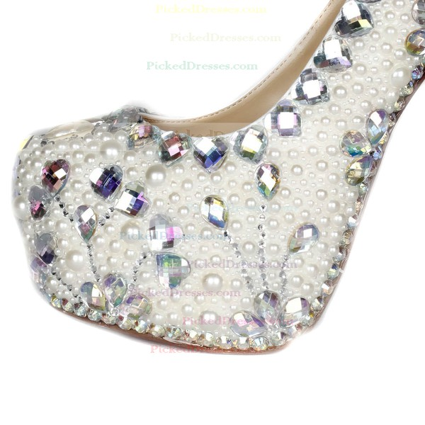 Women's Ivory Patent Leather Pumps with Crystal/Crystal Heel/Pearl