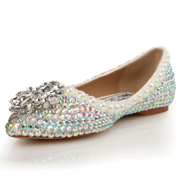 Women's  Patent Leather Flats with Crystal/Pearl