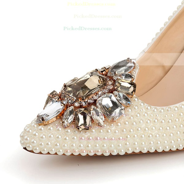 Women's Ivory Patent Leather Pumps with Rhinestone/Pearl