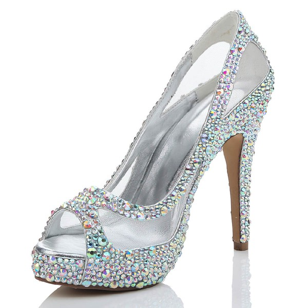 Women's  Suede Peep Toe with Rhinestone/Hollow-out