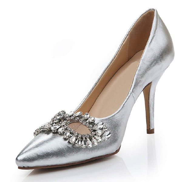 Women's Silver Real Leather Pumps with Rhinestone/Hollow-out #PDS03030468