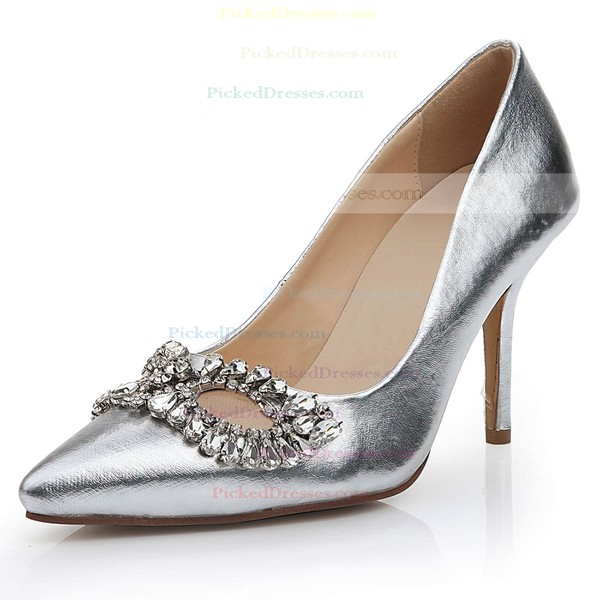 Women's Silver Real Leather Pumps with Rhinestone/Hollow-out