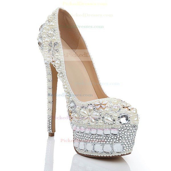 Women's White Patent Leather Pumps with Crystal/Crystal Heel/Pearl