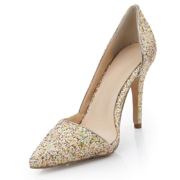 Women's  Patent Leather Closed Toe with Sparkling Glitter
